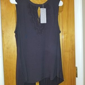 Daniel rain navy sleeveless tunic with lace design